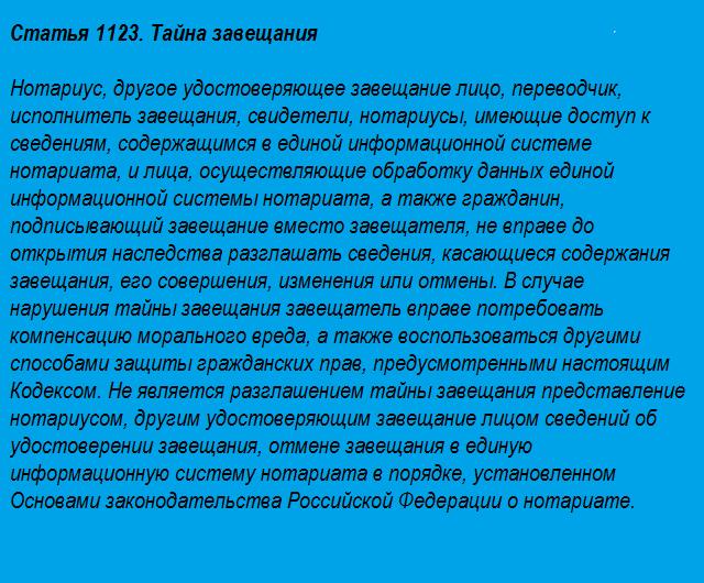Статья 1123. Тайна завещания