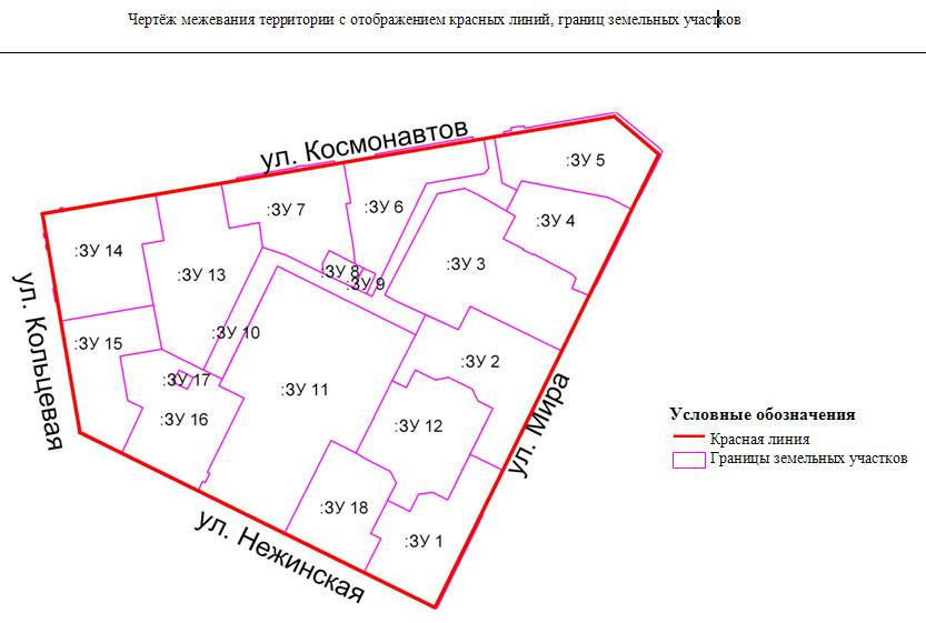 Чертёж межевания территории с отображением красных линий, границ земельных участков