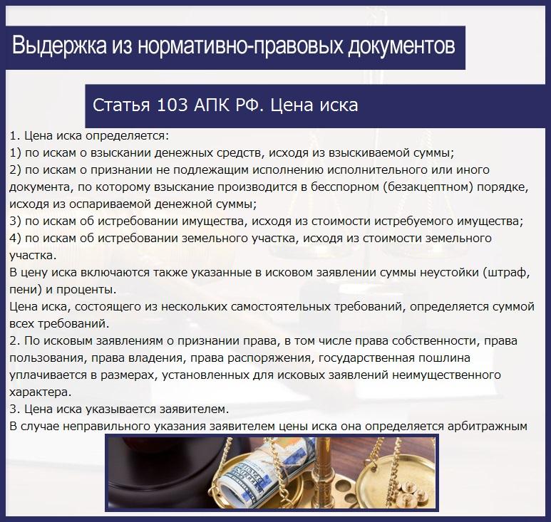 Статья 103 АПК РФ. Цена иска
