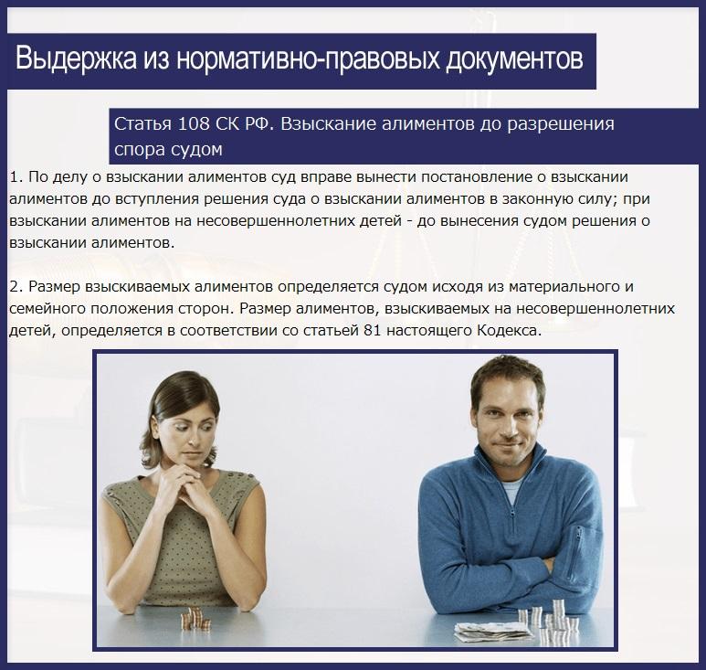 Статья 108 СК РФ. Взыскание алиментов до разрешения спора судом