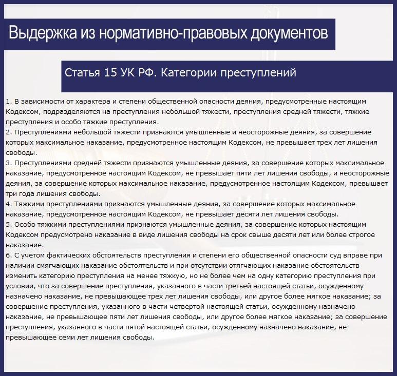 Статья 15 УК РФ. Категории преступлений
