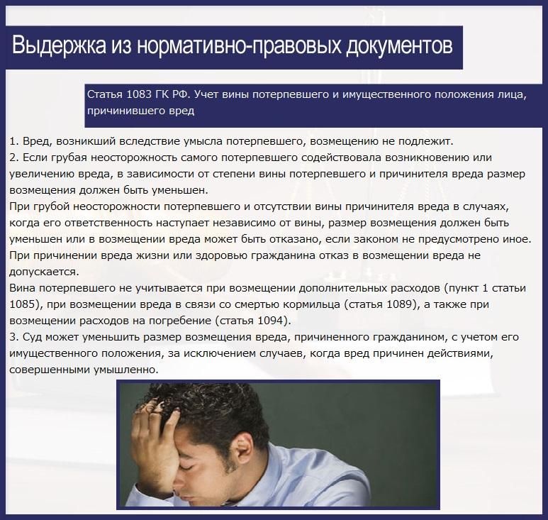 Статья 1083. Учет вины потерпевшего и имущественного положения лица, причинившего вред