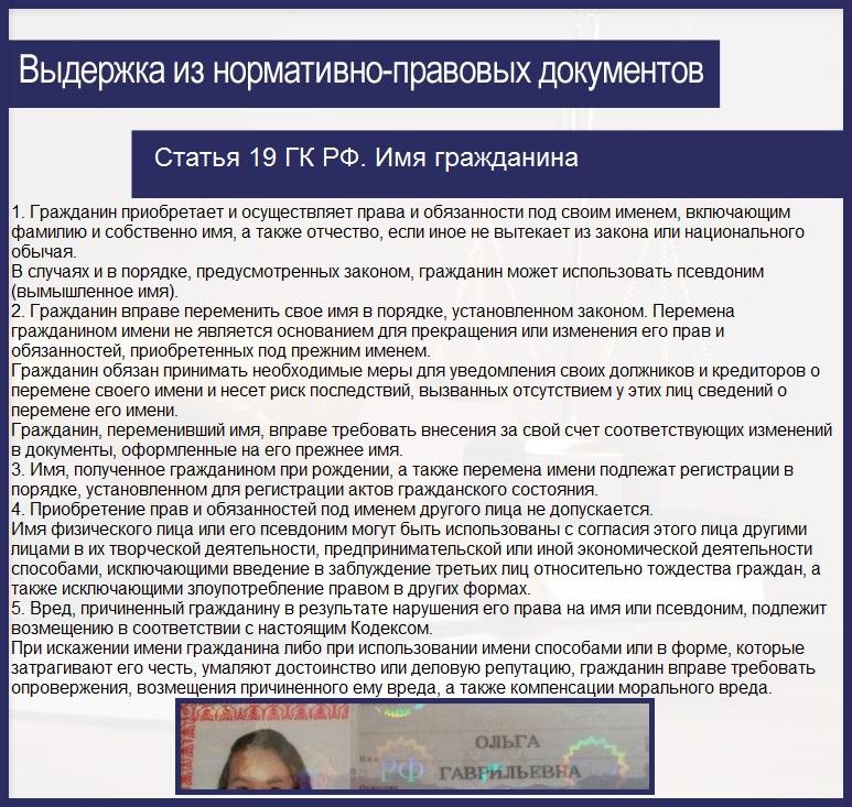 Статья 19 ГК РФ. Имя гражданина