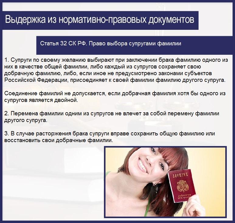 Статья 32 СК РФ. Право выбора супругами фамилии