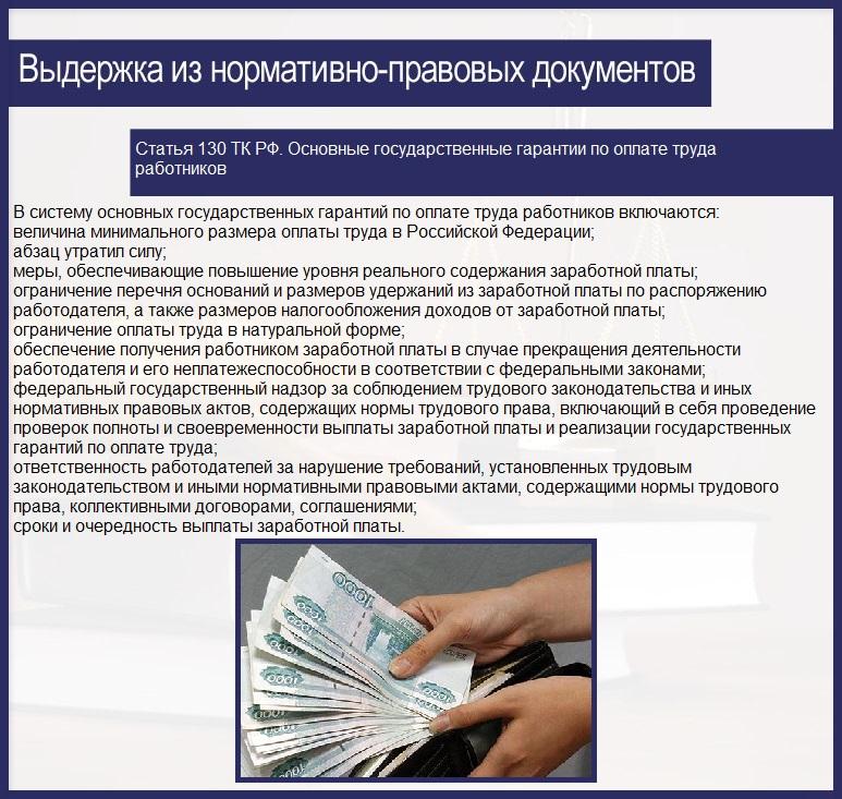 Статья 130 ТК РФ. Основные государственные гарантии по оплате труда работников