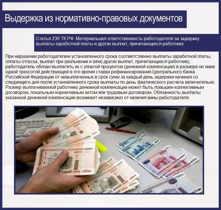 Статья 236 ТК РФ. Материальная ответственность работодателя за задержку выплаты заработной платы и других выплат, причитающихся работнику