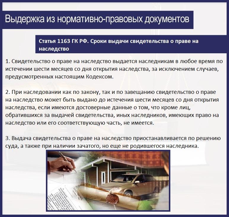 Статья 1163. Сроки выдачи свидетельства о праве на наследство