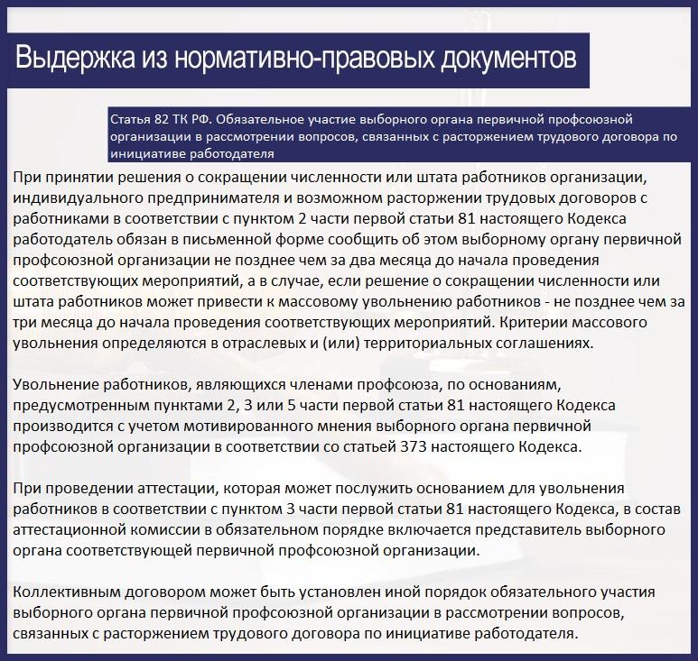 Статья 82 ТК РФ. Обязательное участие выборного органа первичной профсоюзной организации в рассмотрении вопросов, связанных с расторжением трудового договора по инициативе работодателя