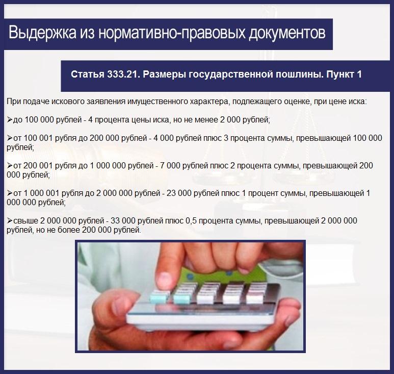 Статья 333.21. Размеры государственной пошлины. Пункт 1