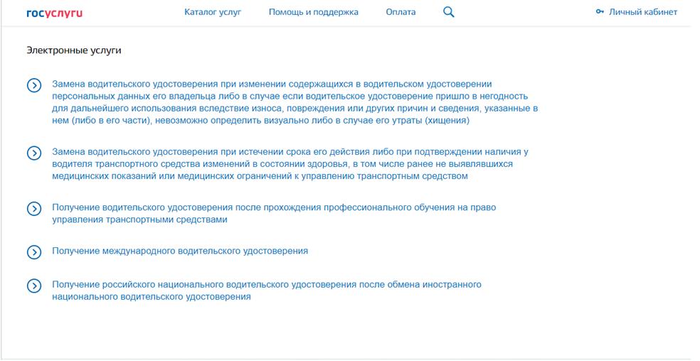 Список услуг, которые доступны в электронном режиме на портале gosuslugi