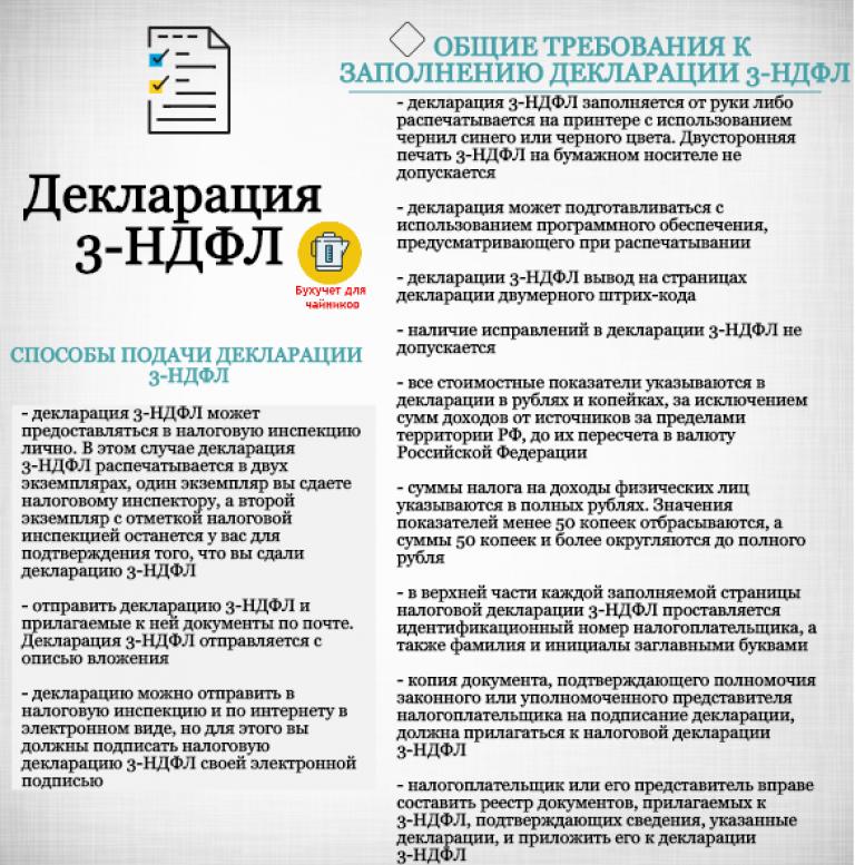 Требования к заполнению декларации 3-НДФЛ