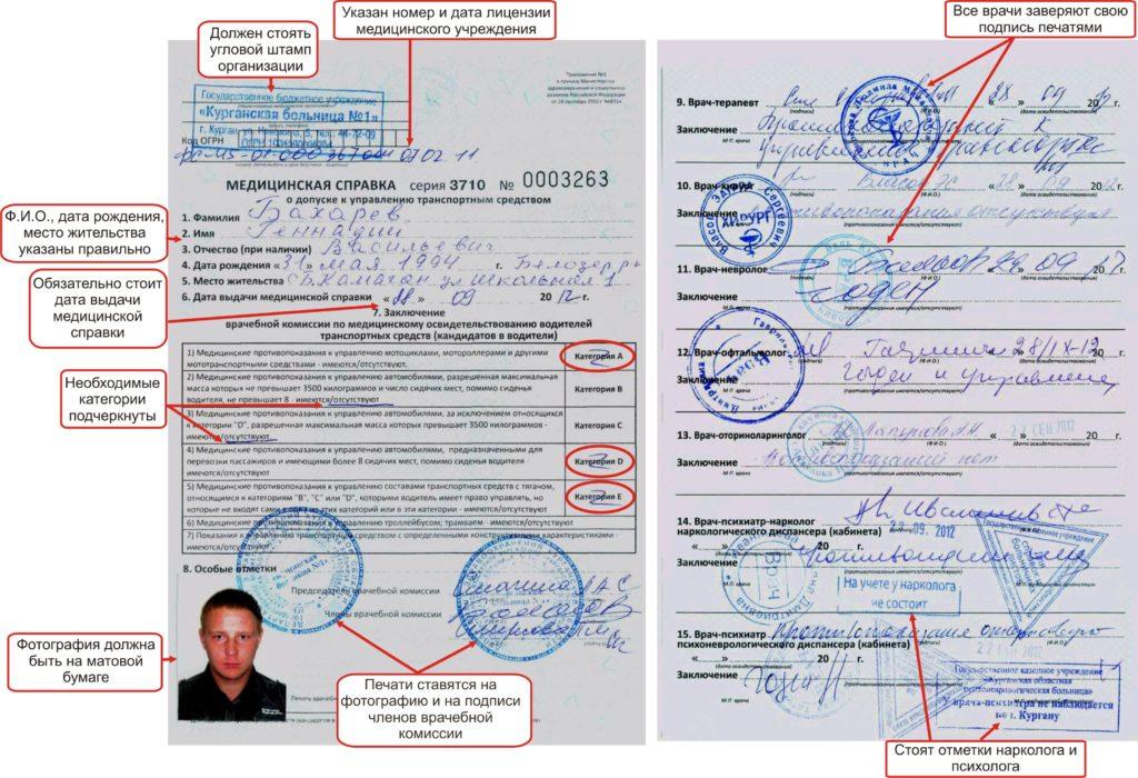 Медсправка для замены водительского удостоверения по формату № 083/У-89