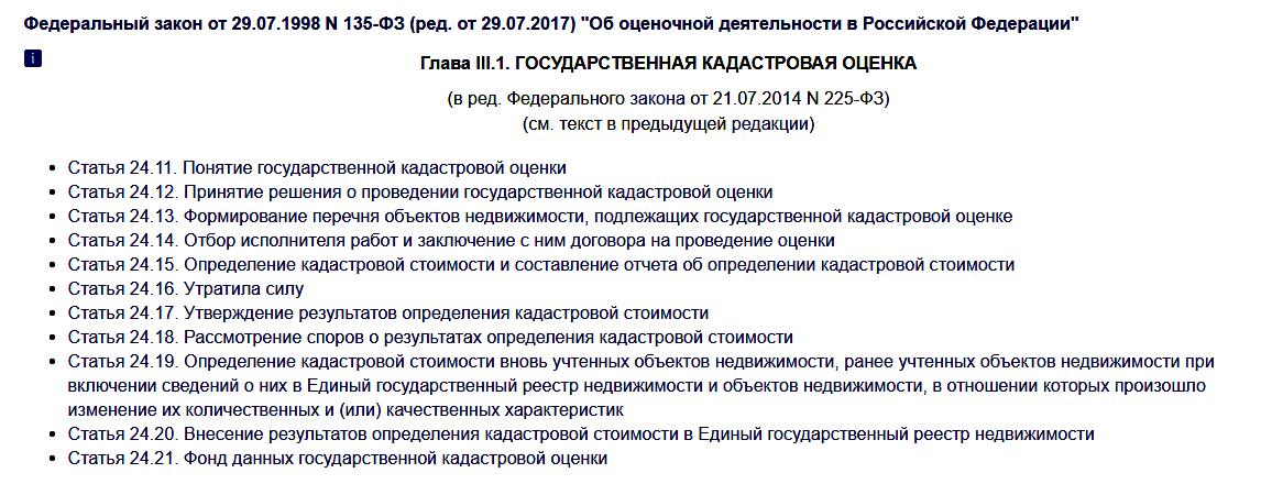 Государственная кадастровая оценка, статьи 24.11 – 24.21