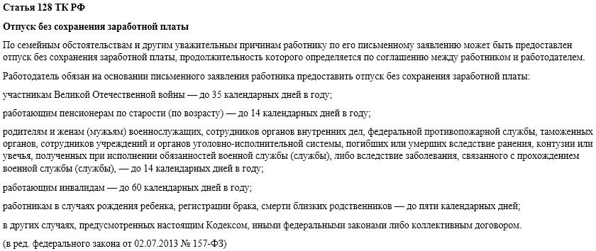 Статья 128. Отпуск без сохранения заработной платы
