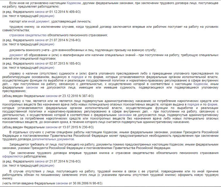 Статья 65. Документы, предъявляемые при заключении трудового договора