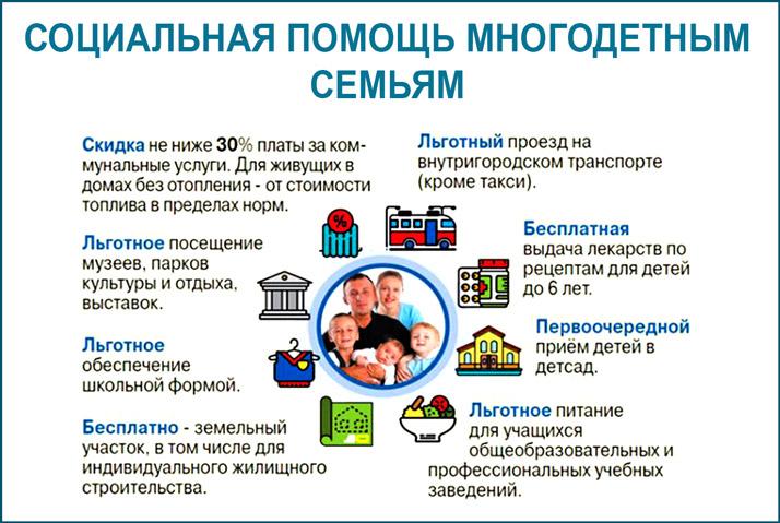 Виды социальной помощи многодетным семьям