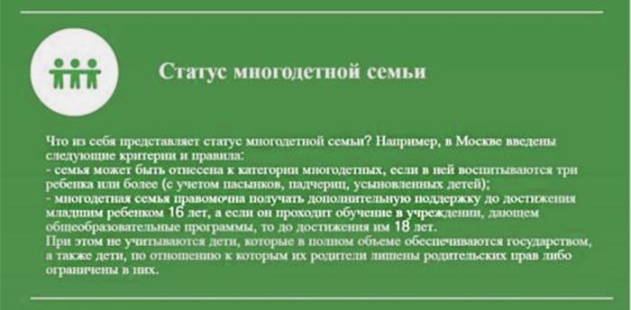 Статус многодетной семьи в Москве