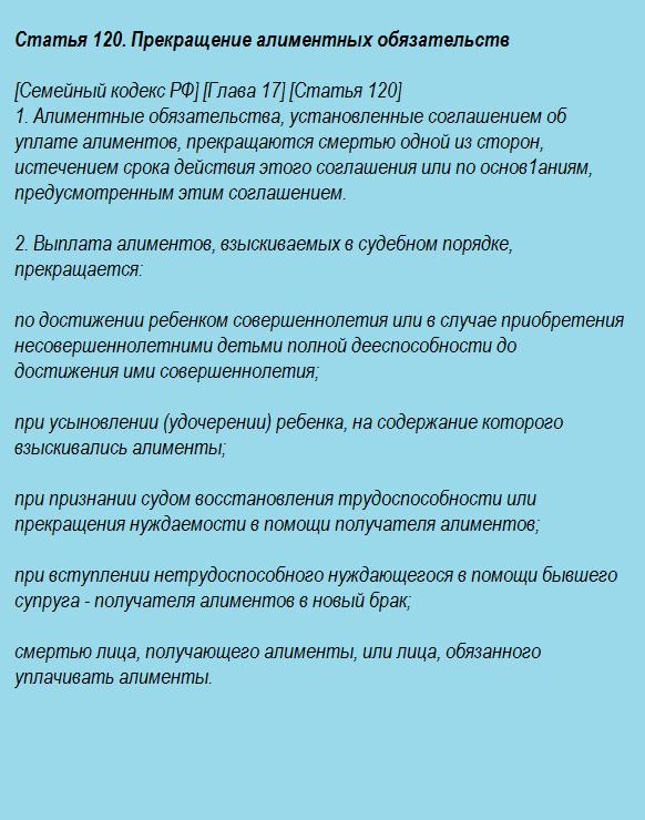 Статья 120. Прекращение алиментных обязательств