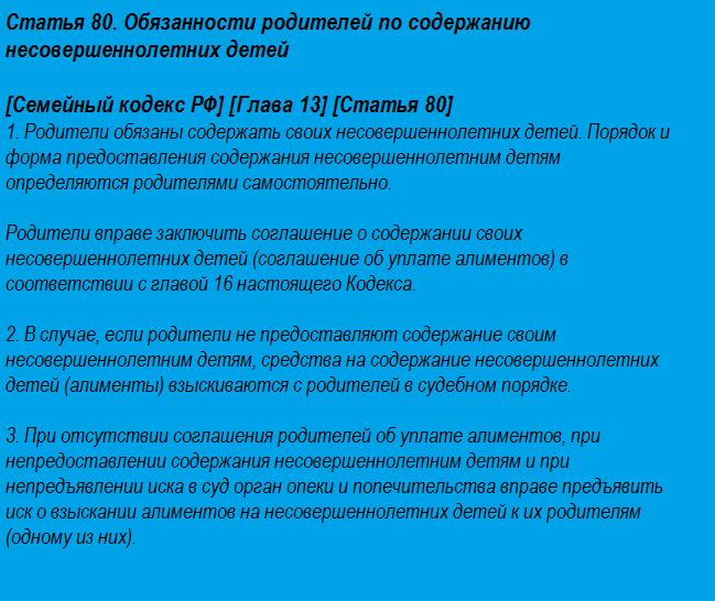 семейный кодекс об алиментах