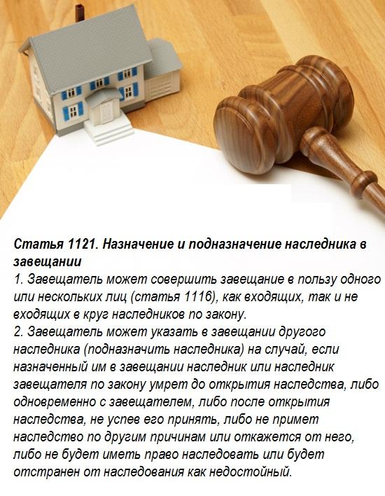 Статья 1121. Назначение и подназначение наследника в завещании