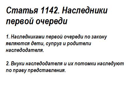 Статья 1142. Наследники первой очереди