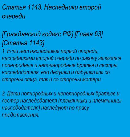 Статья 1143. Наследники второй очереди