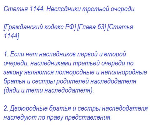 Статья 1144. Наследники третьей очереди