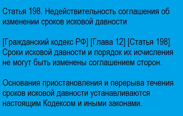 Статья 198. Недействительность соглашения об изменении сроков исковой давности