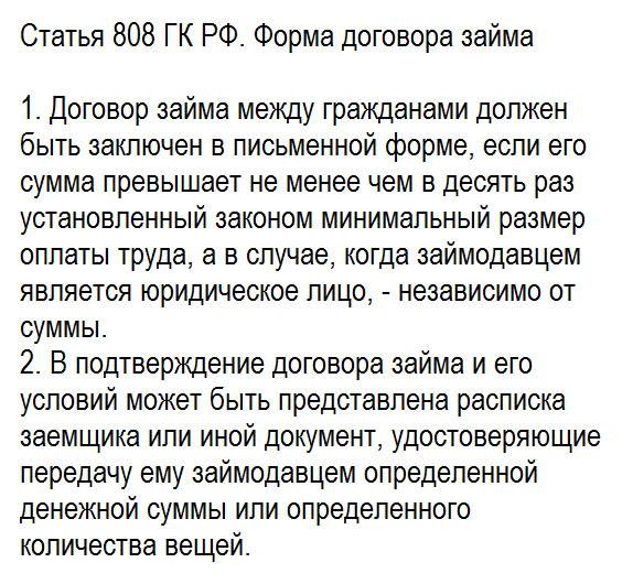 Статья 808 ГК РФ. Форма договора займа