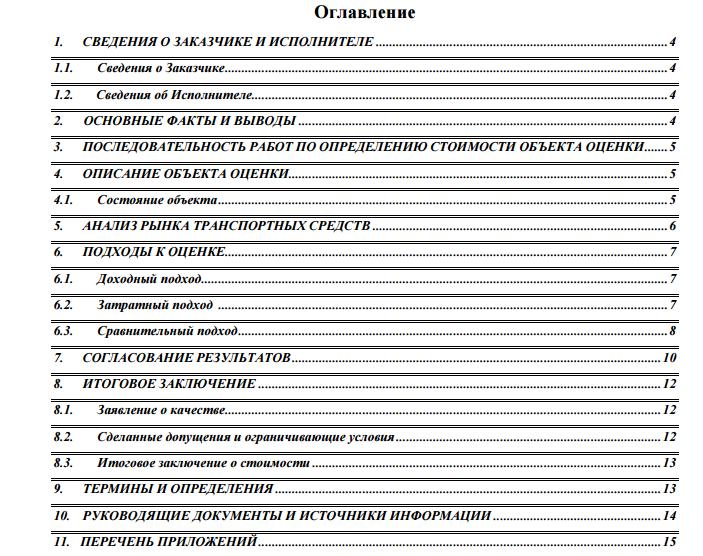 Содержание отчета об оценке ТС