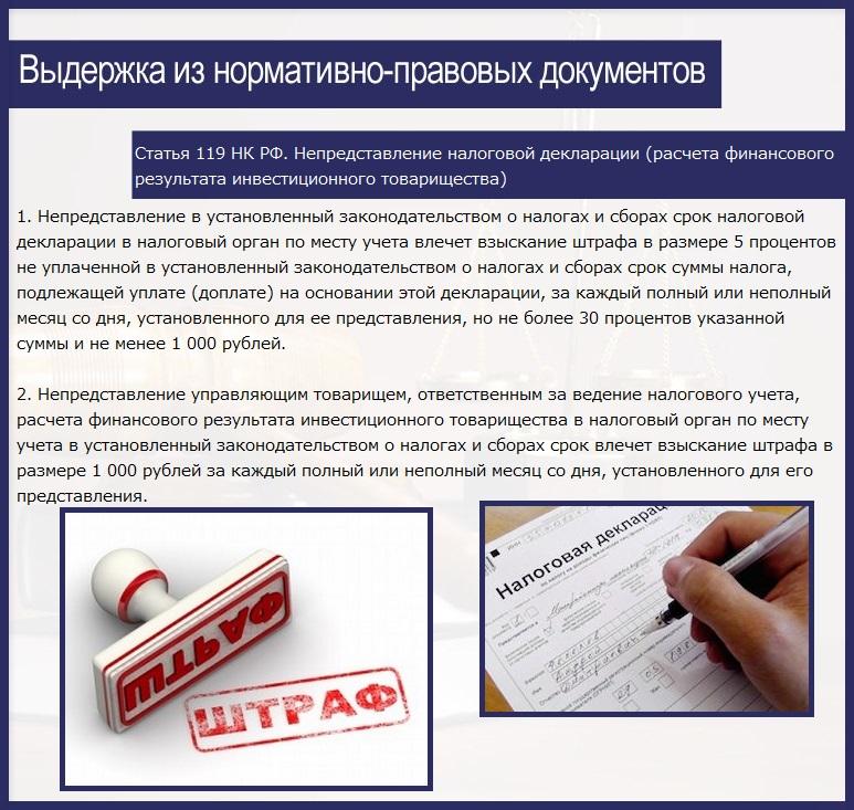 Статья 119 НК РФ. Непредставление налоговой декларации (расчета финансового результата инвестиционного товарищества)