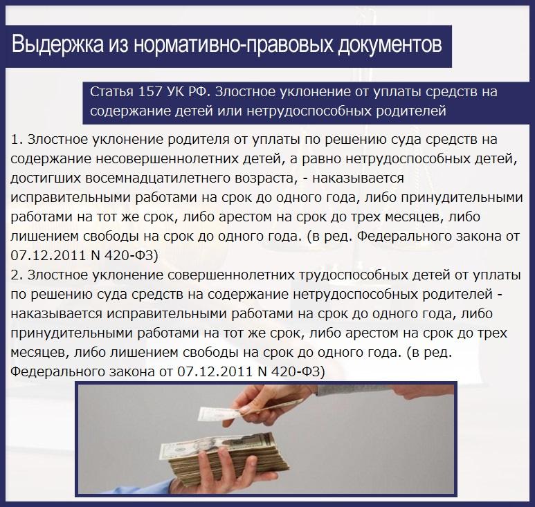 Статья 157 УК РФ. Злостное уклонение от уплаты средств на содержание детей или нетрудоспособных родителей