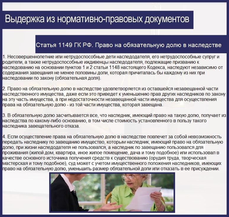 Статья 1149 ГК РФ. Право на обязательную долю в наследстве