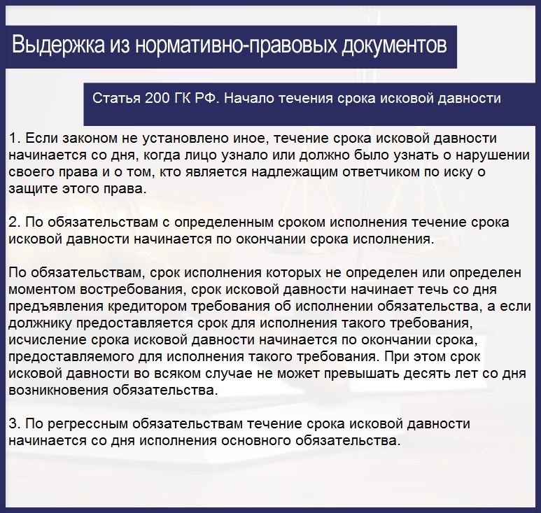 Статья 200 ГК РФ. Начало течения срока исковой давности