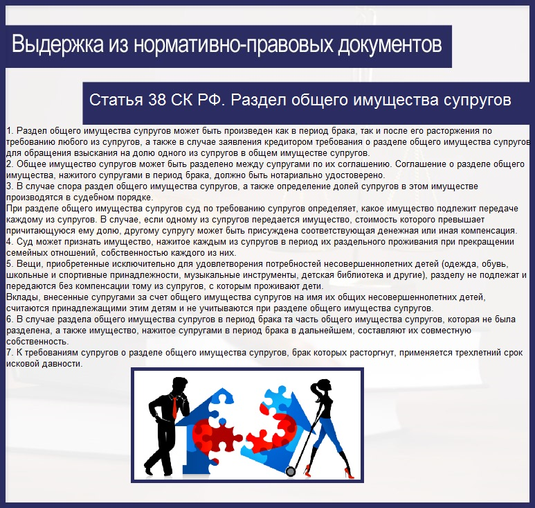 Статья 38 СК РФ. Раздел общего имущества супругов