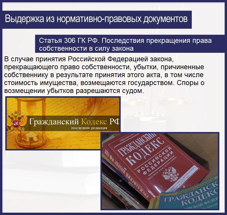 Статья 306 ГК РФ. Последствия прекращения права собственности в силу закона