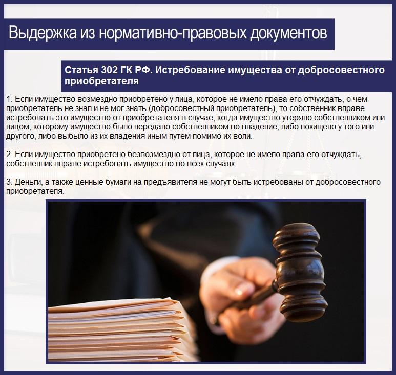 Статья 302 ГК РФ. Истребование имущества от добросовестного приобретателя