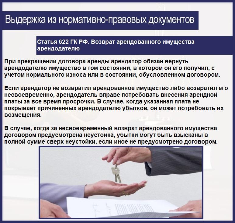 Статья 622 ГК РФ. Возврат арендованного имущества арендодателю