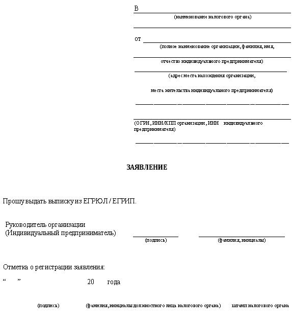 Заявление на выдачу выписки из ЕГРП