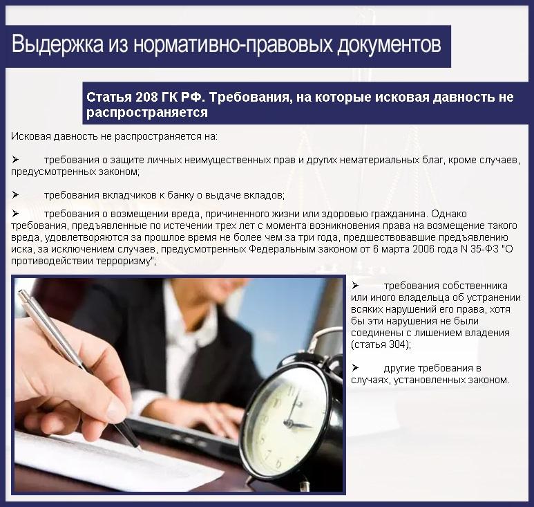 Статья 208 ГК РФ. Требования, на которые исковая давность не распространяется