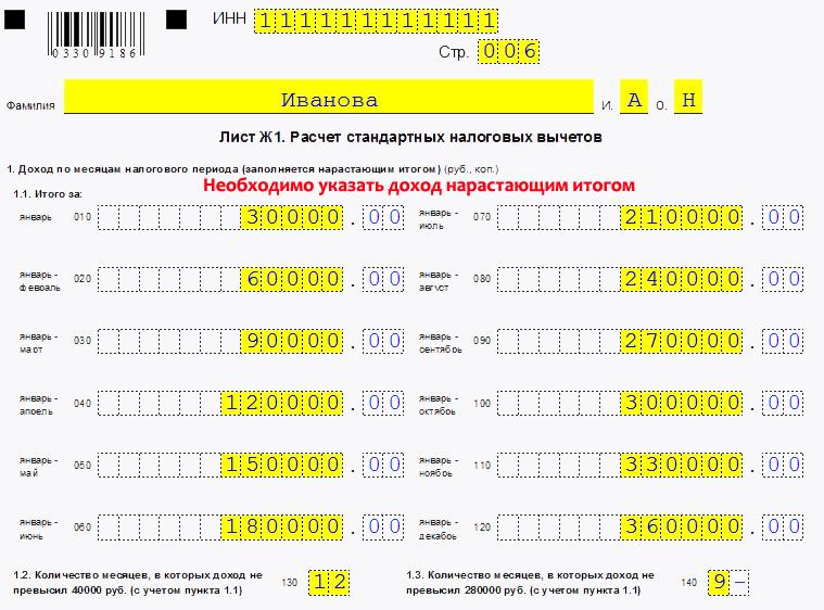 Образец расчета налоговых вычетов