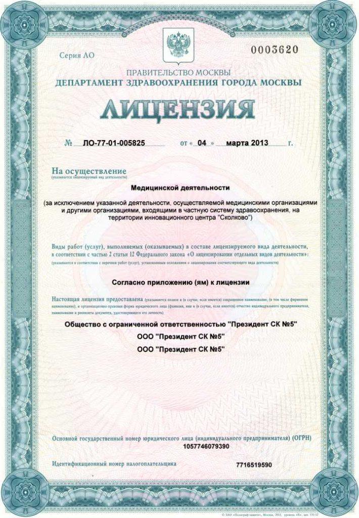 Пример государственной лицензии