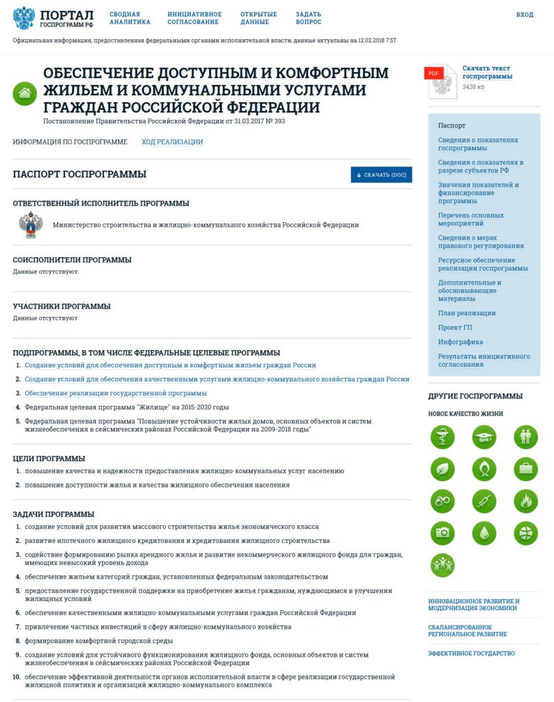 Сайт Правительства Российской Федерации