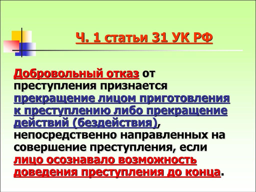 Часть 1 статьи 31 УК РФ Добровольный отказ