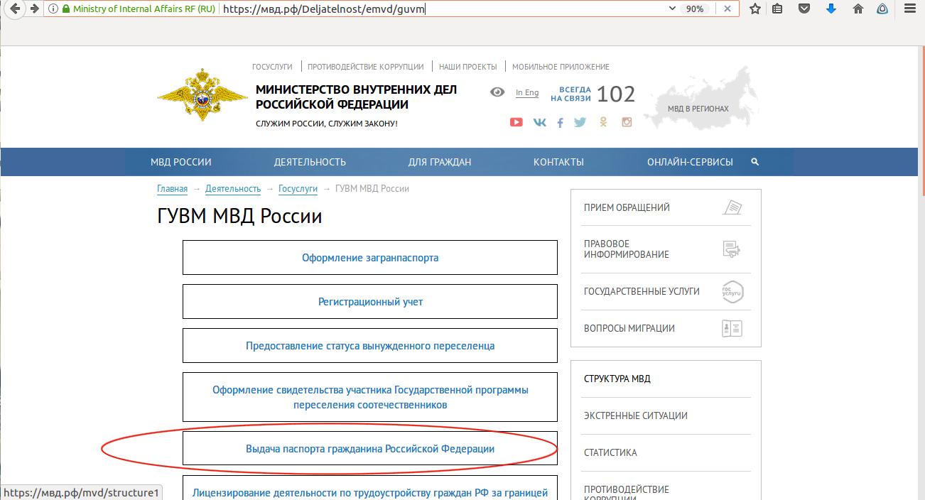 Выбираем пункт «Выдача паспорта гражданина РФ»