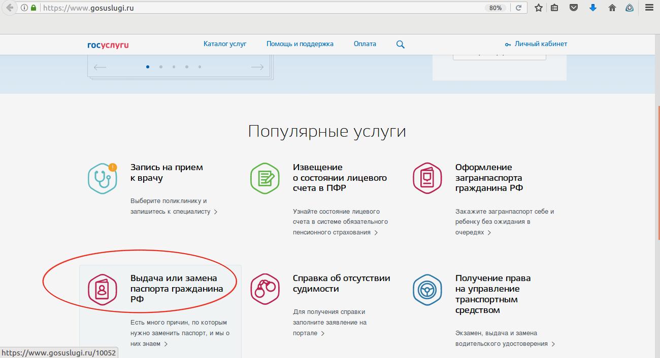 Нажимаем опцию «Выдача или замена паспорта гражданина РФ»