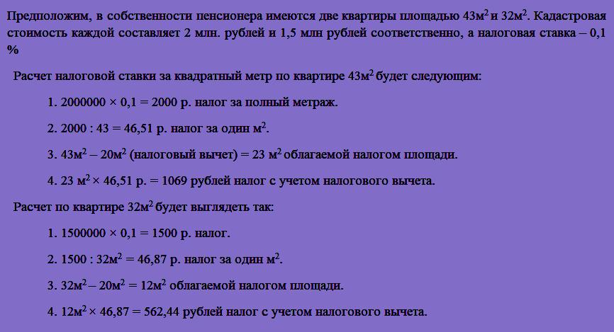 Пример налогового вычета из кадастровой стоимости