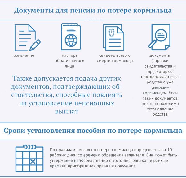 Сроки установления пенсии по потери кормильца и документы
