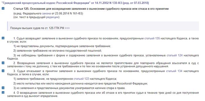 Статья 125. Основания для возвращения заявления о вынесении судебного приказа или отказа в его принятии