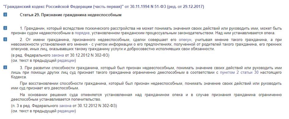 Статья 29. Признание гражданина недееспособным
